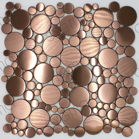round copper floor tiles, floor or wall, shower and bathroom loop-cuivre