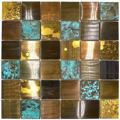 Carrelage metal bronze mosaique cuisine et salle de bain velvet carrelage - Mosaique et carrelage ...