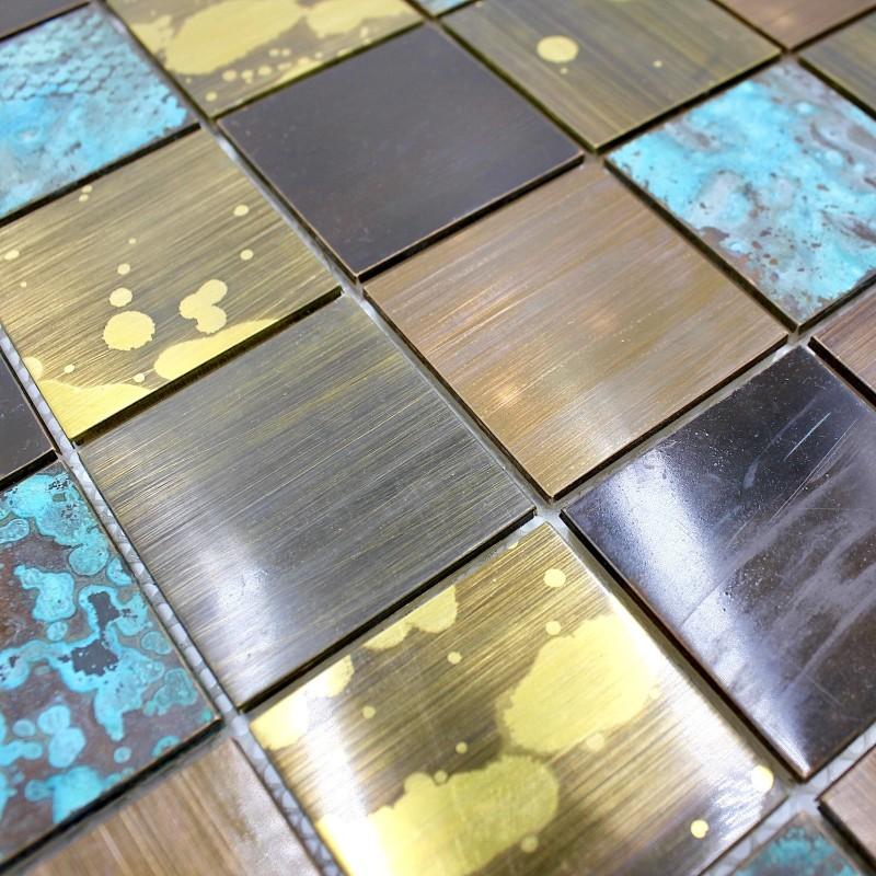 Carrelage metal bronze mosaique cuisine et salle de bain for Carrelage bain et cuisine