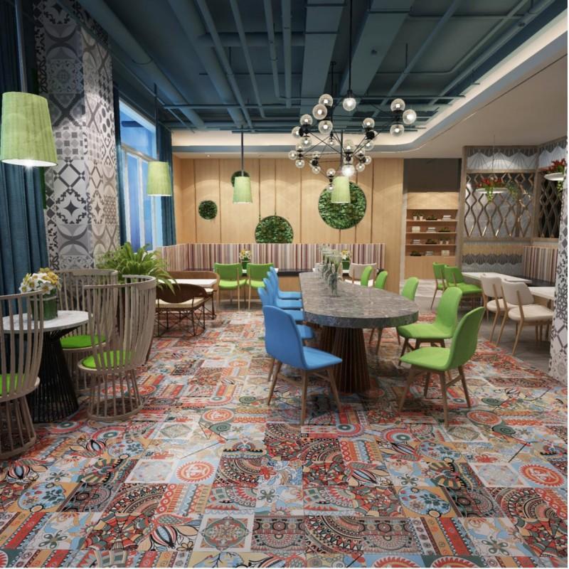 Patchwork tile ceramic imitation cement yucatan - carrelage-inox.fr