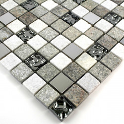 muestra azulejo gris mosaico de piedra mp-swiri