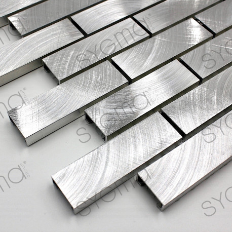 carrelage echantillon metal aluminium mosaique  modele alu-brique64