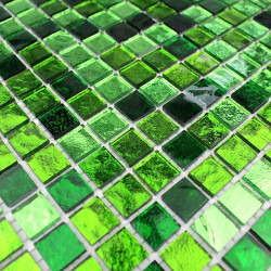 mosaique de verre carrelage vert sol et mur 1m-glossvert