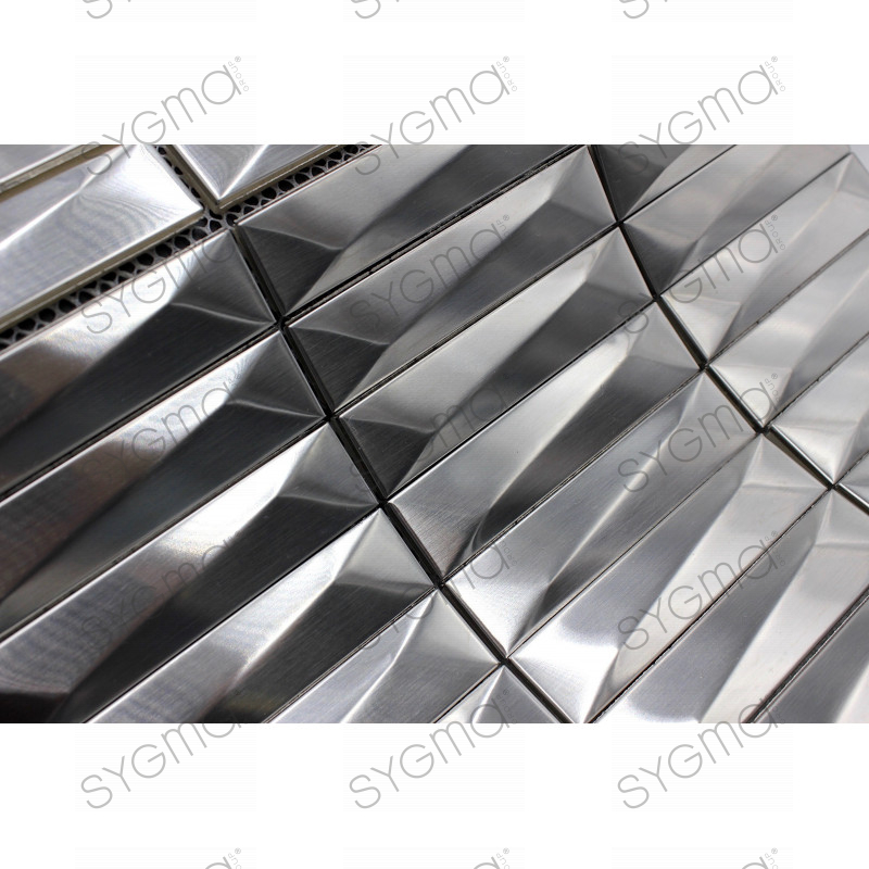 Carrelage mural metal acier inox mos in chola carrelage for Carrelage inox fr