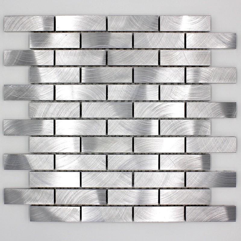 azulejo mosaico pared cocina aluminio 1m-alu-brique64 - carrelage ...