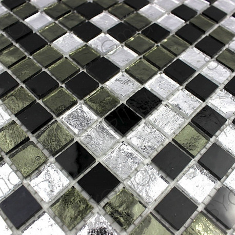 Carrelage mosaique faience salle de bain et douche 1m gloss nero carrelage - Mosaique et carrelage ...