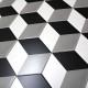 carrelage imitation ciment noir et blanc hexagonal cim-cube
