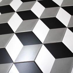 Carrelage imitation ciment noir et blanc hexagonal cim for Carrelage hexagonal noir