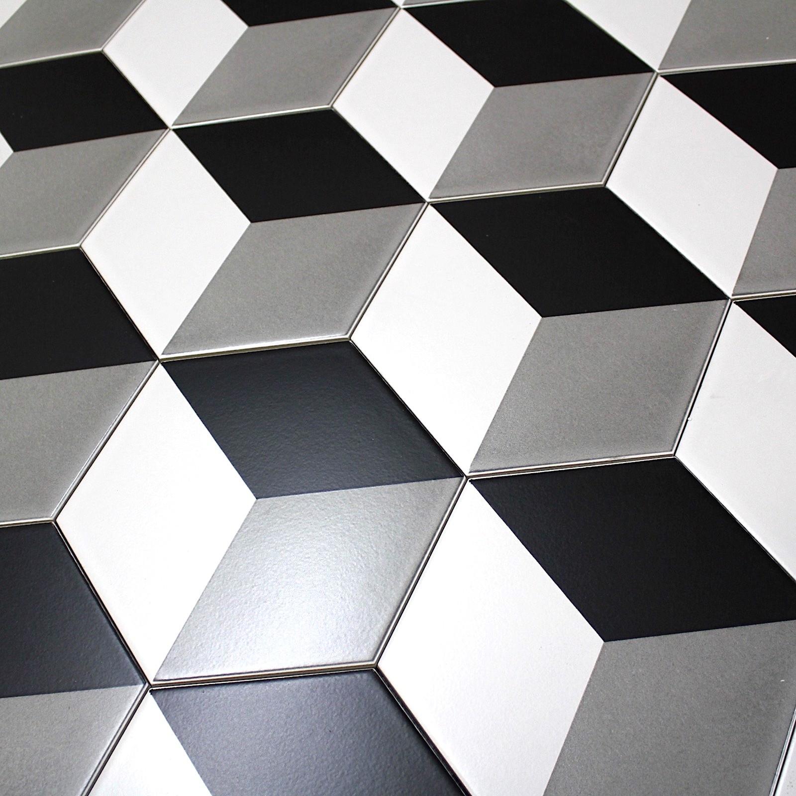 Carrelage Imitation Ciment Noir Et Blanc Hexagonal Cim Cube