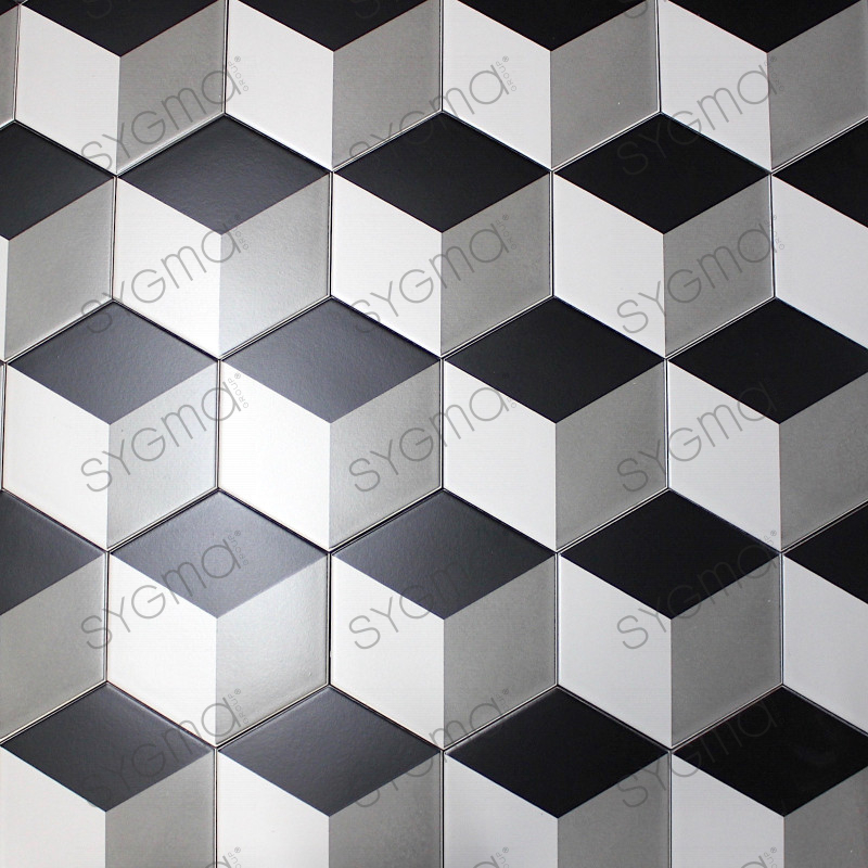 Carrelage imitation ciment noir et blanc hexagonal cim for Carrelage blanc hexagonal