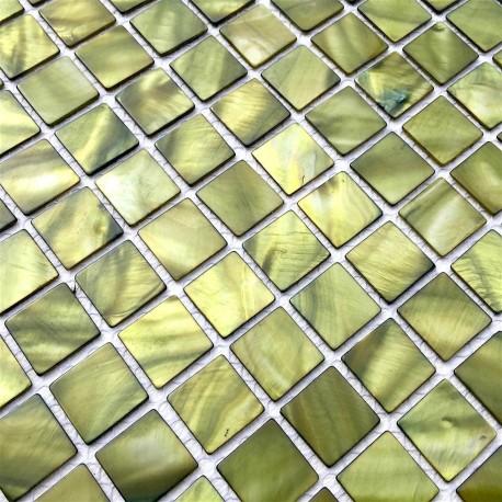 mosaique de nacre en douche et salle de bain 1m nacarat vert