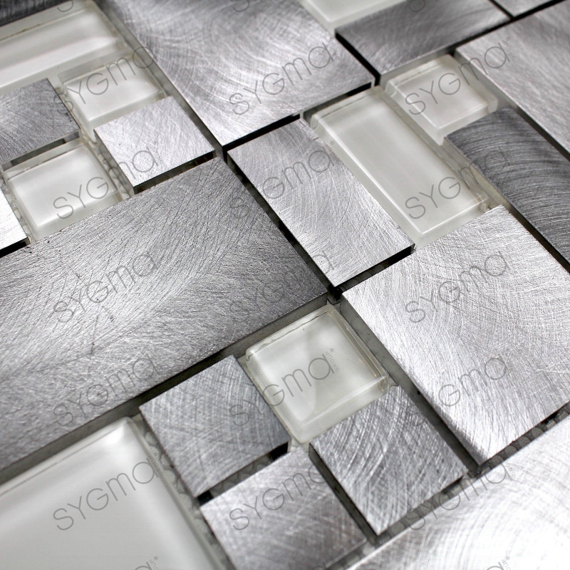 Carrelage mosaique aluminium cuisine ou salledebain alu aspen carrelage - Credence cuisine alu ou inox ...