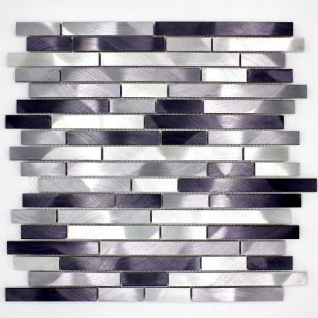mosaique aluminium mur de douche salle de bain alu blend-gris ...