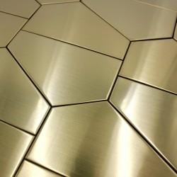 Mosaique metal acier inox cuisine credence et fond de hotte 1m-cedargold