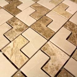 Mosaique pierre marbre salled e bain et douche 1m-sonal