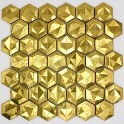 carrelage mosaique pour mur en metal acier inox Kami Gold