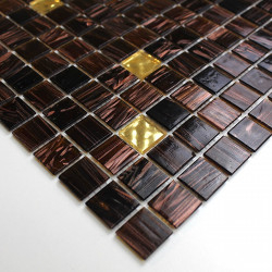 tile sample glass mosaic brown model mv-goldline-vog
