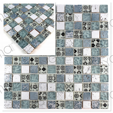 mosaico de piedra y vidrio muestra modelo vp-milla