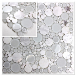 mosaique echantillon carrelage blanc galet modele vp-york