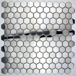 carrelage acier miroir et brosse hexagon pour credence cuisine in-yuri