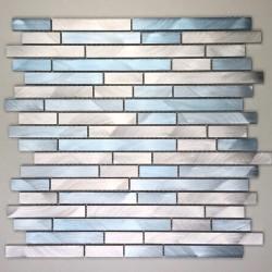 Mosaico de aluminio pared cocina y bano blend-bleu