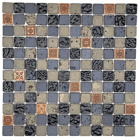 azulejos de mosaico de vidrio y piedra metallicnoir