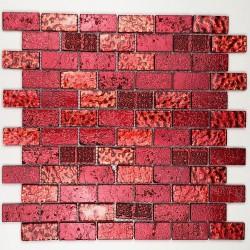 carrelage douche mosaique douche verre et pierre mettalic brique rouge