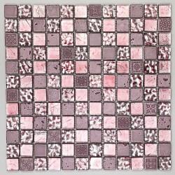 carrelage douche mosaïque douche verre et pierre metallic rose