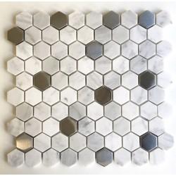 hexagonal azulejo cocina y bano malla mosaico de marmol mp-nuno