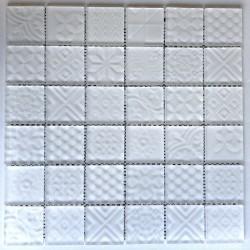 Azulejo malla mosaico blanco para pared cocina y baño mv-oskar