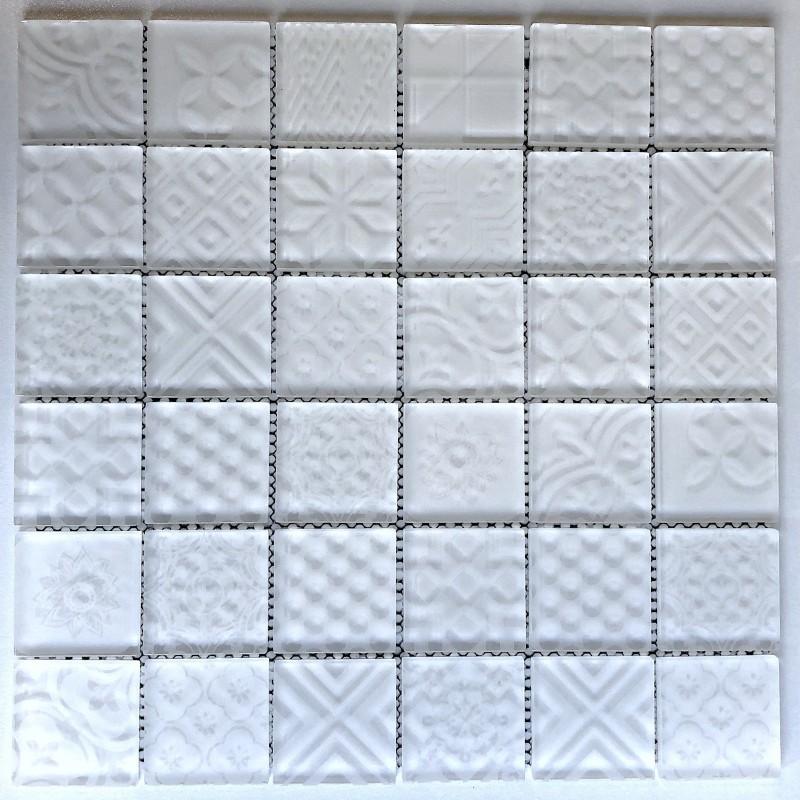 carrelage mosaique blanc pour mur cuisne et salle de bain mv-oskar ...