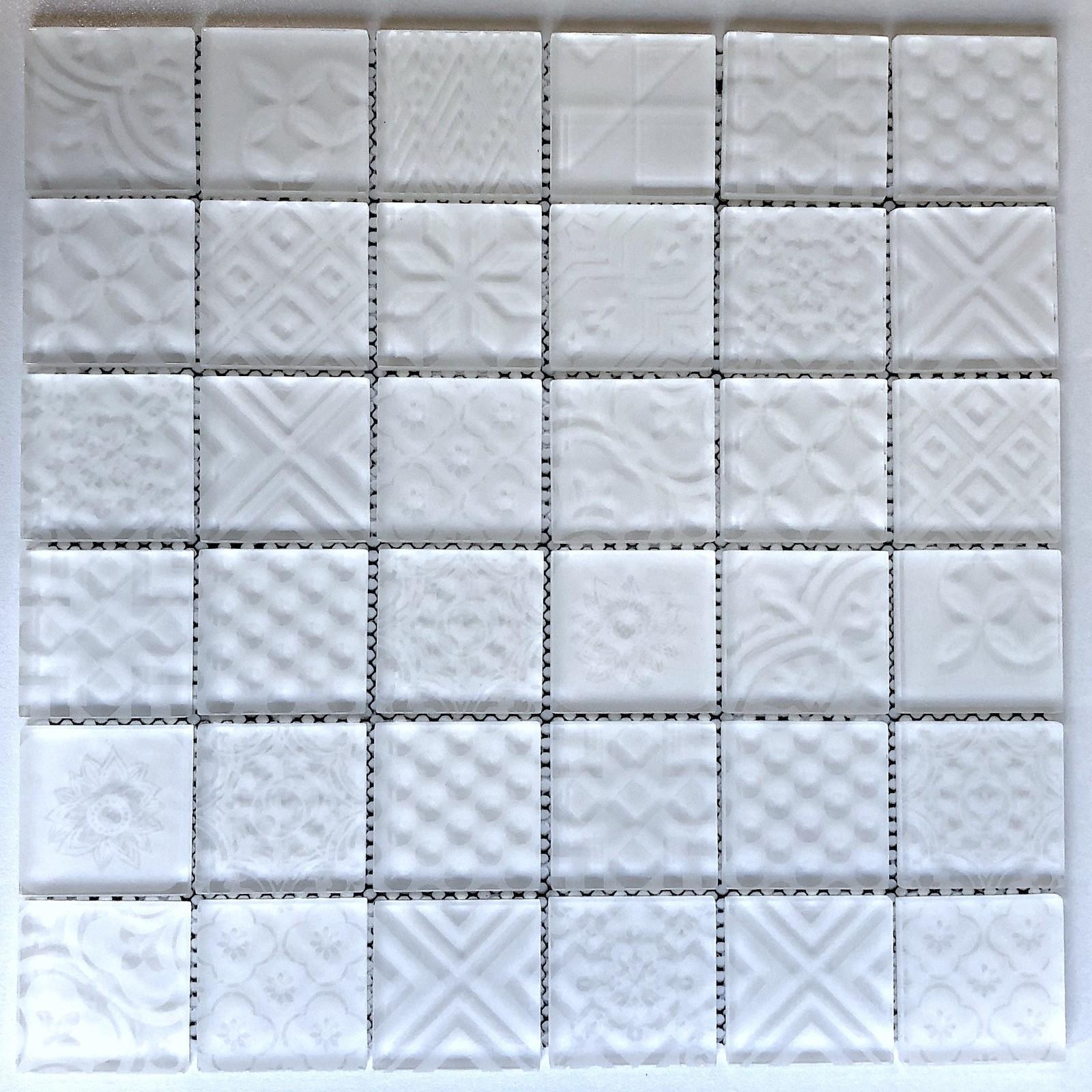 carrelage mosaique blanc pour mur cuisne et salle de bain mv-oskar