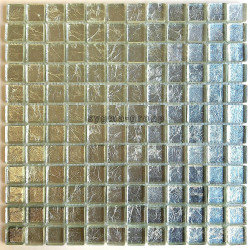 Mosaic tiles metallic silver wall bathroom and kitchen hedra-argent