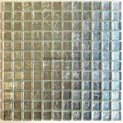 Mosaico azulejo de vidrio metalizada par pared modelo hedra-argent