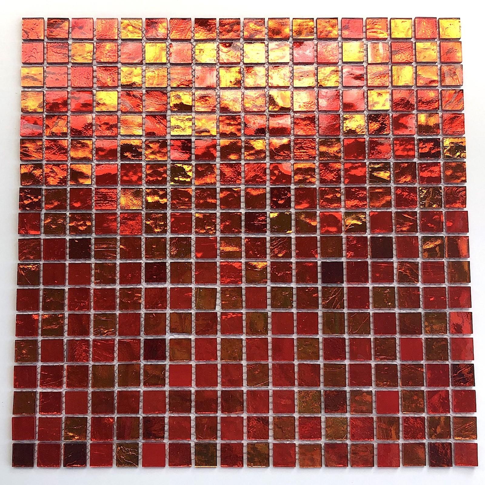 Faience Verre Salle Bain mosaique salle de bains en verre gloss orange - carrelage