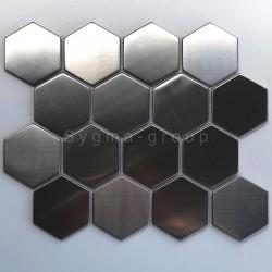 carrelage acier miroir et brosse hexagon pour credence cuisine Kiel