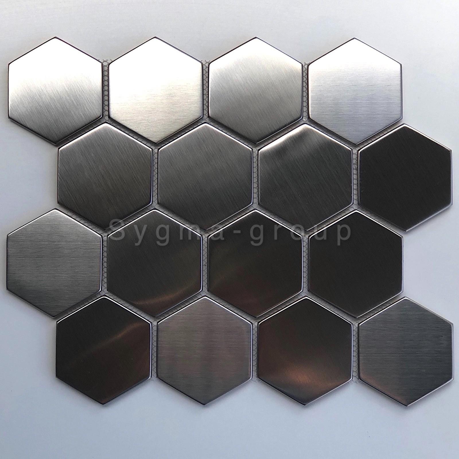 Carrelage Acier Miroir Et Brosse Hexagon Pour Credence Cuisine