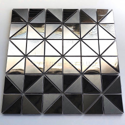 mirror and brushed steel tile for wall kitchen Kubu