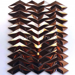 mosaic tile mirror copper color wall kitchen backsplash Vernet
