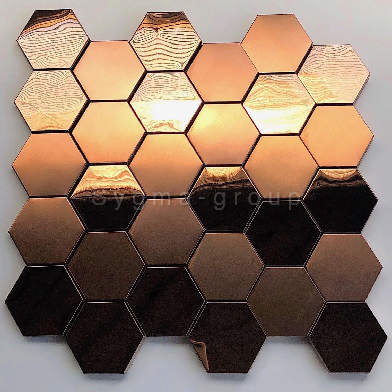 Mosaic Tile Copper Color Wall Kitchen Backsplash Zuiver Carrelage Inox Fr