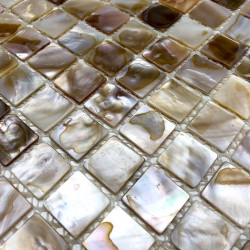 Mosaic tile shell for shower floor and wall bathroom 1m Nacre naturel