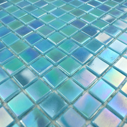 bathroom glass mosaic wall and floor 1m Rainbow azur
