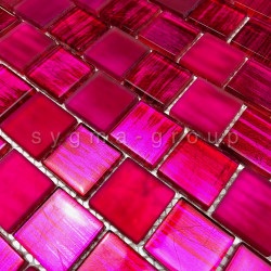 mosaique mur de cuisine et carrelage salle de bains 1m drio rose