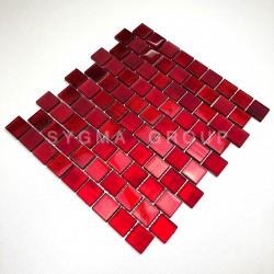 mosaique mur de cuisine et carrelage salle de bains 1m drio rouge