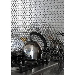 mosaico acero inoxidable espejo cocina placa SORA