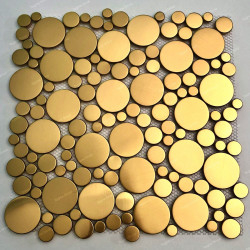 Gilded stainless steel mosaic for wall or floor of shower and bathroom Focus Or