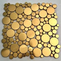 Mosaique en metal inox doré pour mur ou sol de douche et salle de bains Focus Or