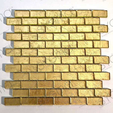 carrelage mosaique metalise or salle de bain et mur cuisine TESSA OR