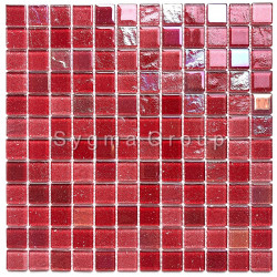 Glass tiles kitchen wall and bathroom mosaics Habay Rouge
