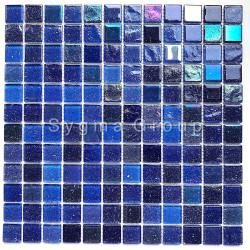Glass tiles backsplash kitchen wall and bathroom mosaics Habay Bleu